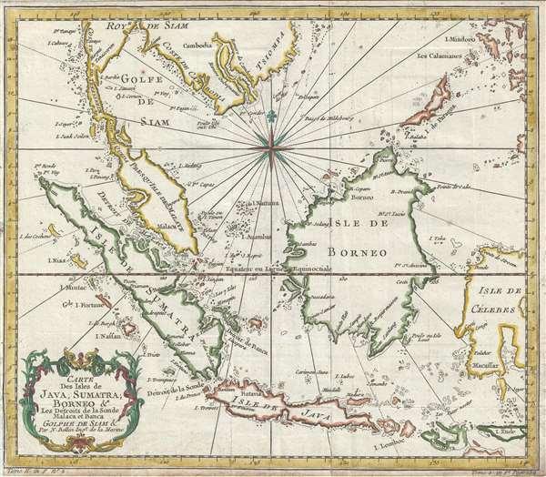 Carte des Isles de Java, Sumatra, Borneo & les détroits de la Sonde Malaca et Banca Golphe de Siam. - Main View