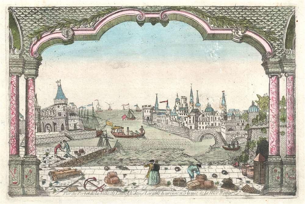 Vue du Port et de la Ville de Lamekk dans Larabie heureuse a 5 lieues de la Mer Rouge. - Main View