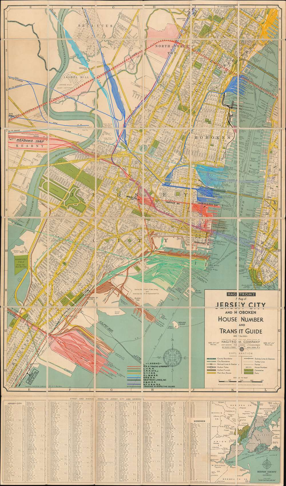 Hagstrom's Map of Jersey City and Hoboken House Number and Transit Guide Map No. 2200A - Main View