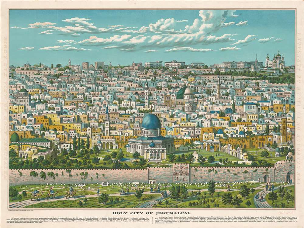 1896 Aece Hage Chromo View of Jerusalem - made in Boston by Arab immigrant