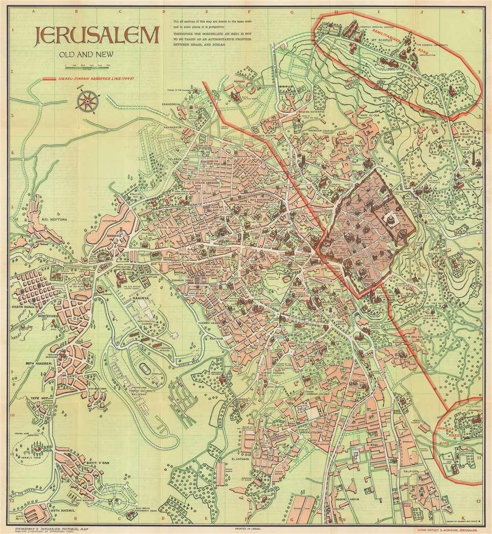 1955 Steimatsky Pictorial Map of Jerusalem