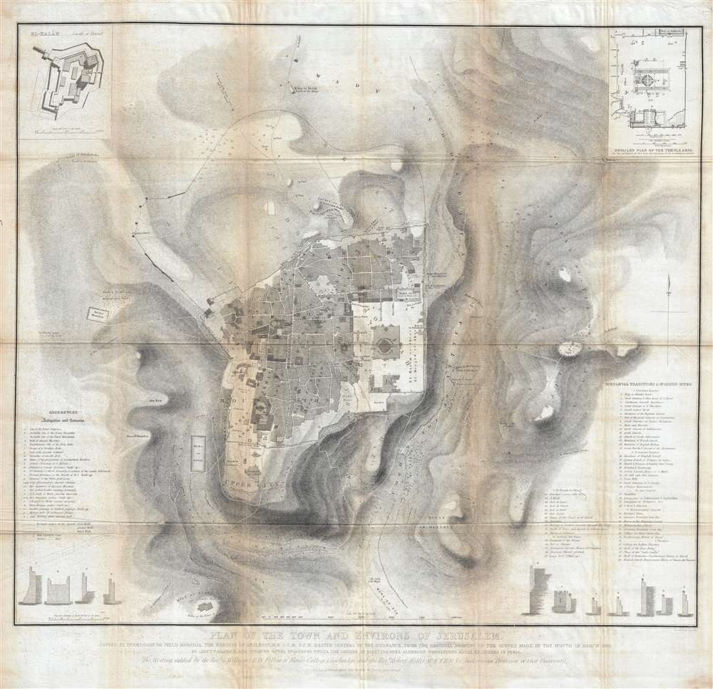 Plan of the town and environs of Jerusalem: Copied by Permission of Field Marshal the Marquis of Anglesey, K.G. G.C.H. Master General of the Ordnance, from the original drawing of the survey made in the month of March 1841.