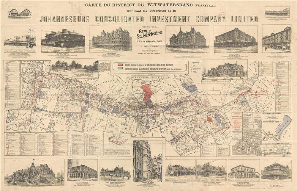 Carte Du District Du Witwatersrand (Transvaal) Montrant les Propriétés de la Johannesburg Consolidated Investment Company Limited Publiée Par La Revue Sud-Africaine.