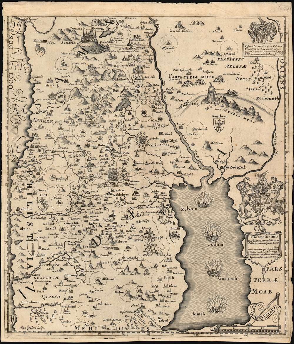 1650 Fuller Map of Judaea and the Dead Sea