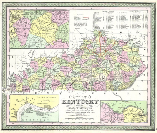 A New Map of Kentucky with its Roads & Distances from place to place along the Stage & Steam Boat Routes.