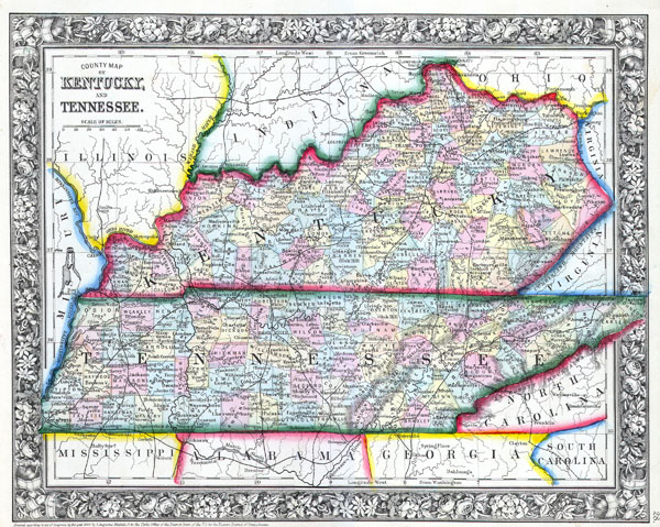 County Map of Kentucky and Tennessee.