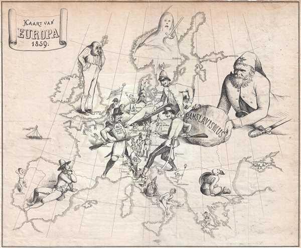 Kaart van Europa 1859.