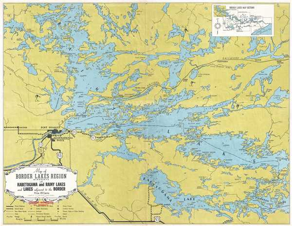 Map of the Border Lakes Region Minnesota with Kabetogama and Rainy Lakes and Lakes Adjacent to the Border.