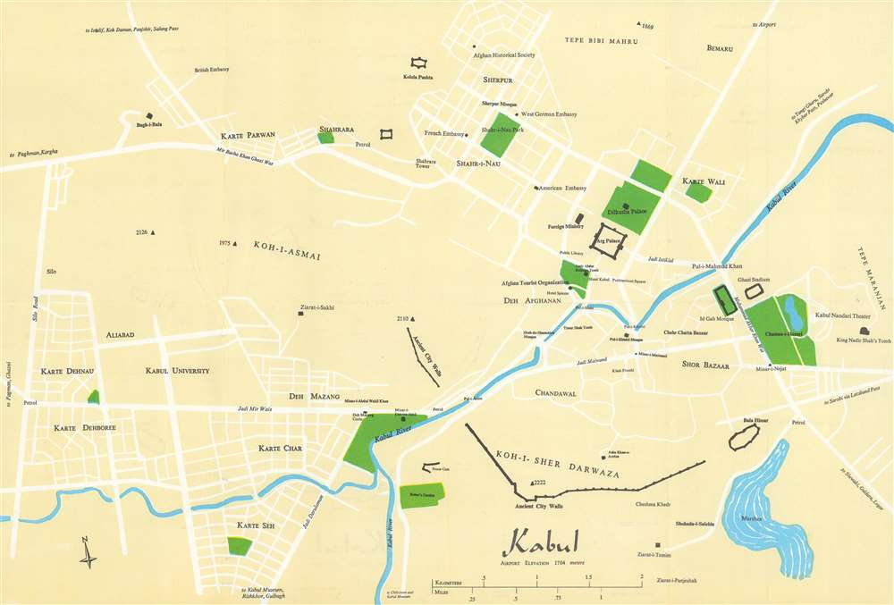 1965 Hatch Wolfe Tourist City Plan or Map of Kabul, Afghanistan