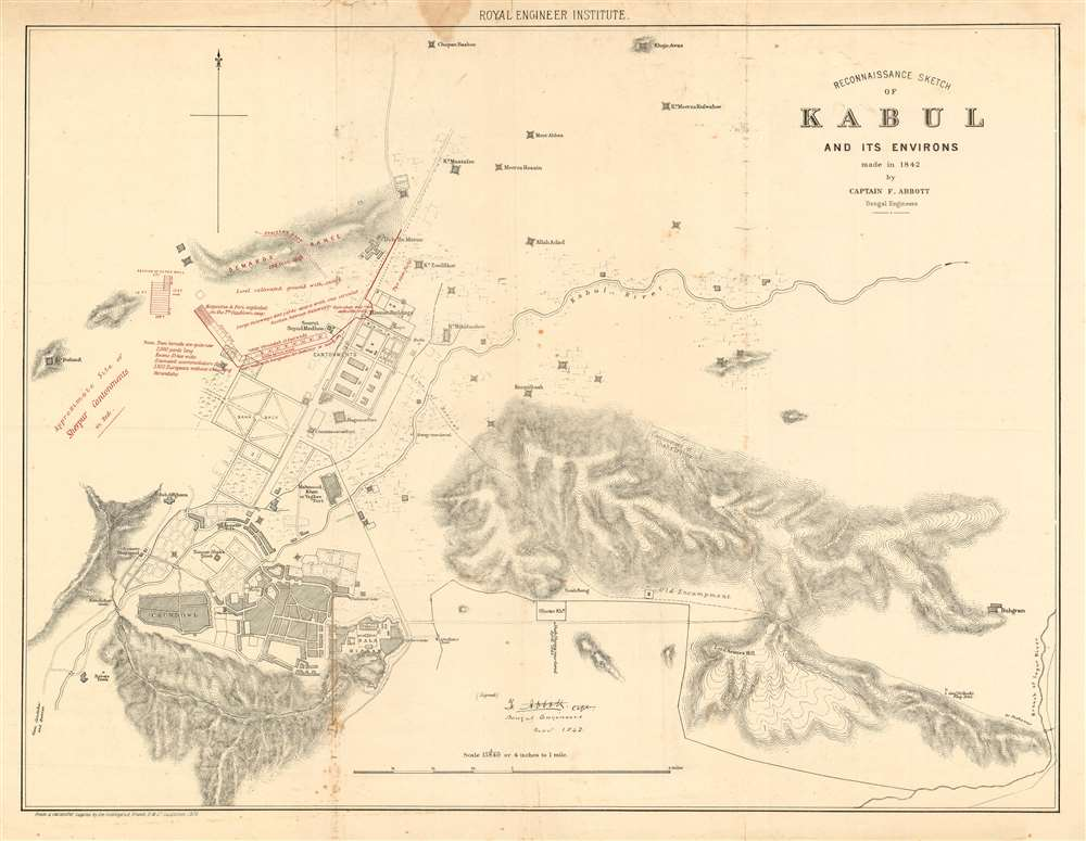 Reconnaissance Sketch of Kabul and its Environs made in 1842 by Captain F. Abbott Bengal Engineers. - Main View