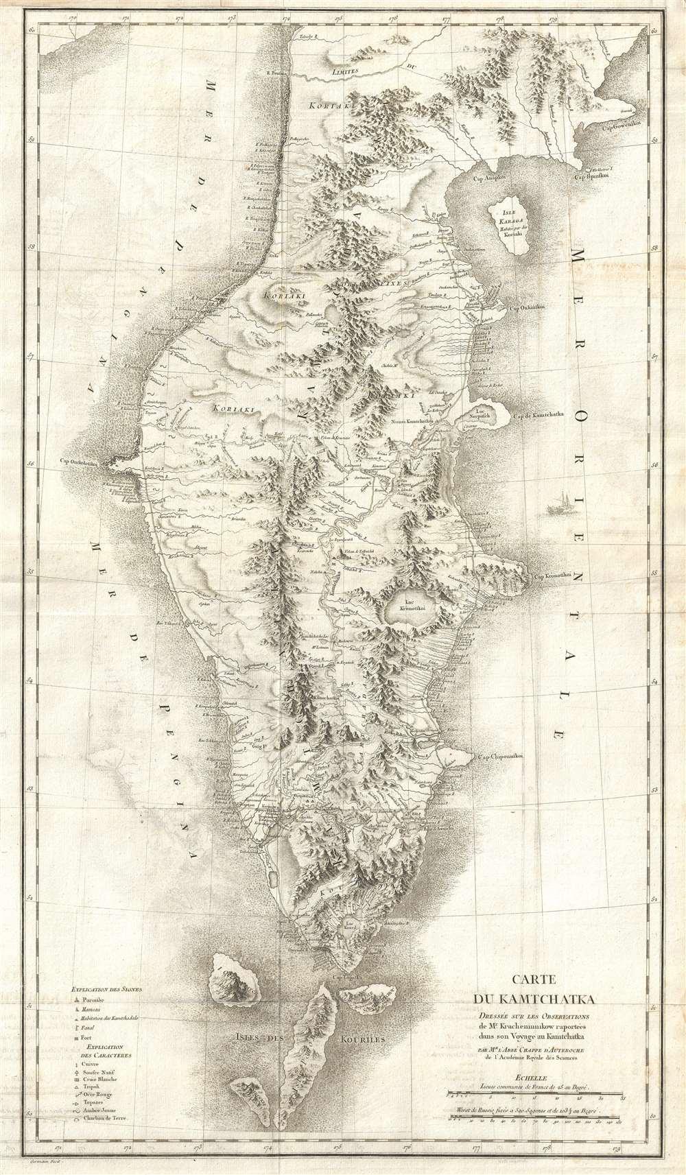 Carte du Kamtchatka Dressee sur Les Observations de Mr. Kacheninnikow raportees dans son Voyage au Kamtchatka. - Main View
