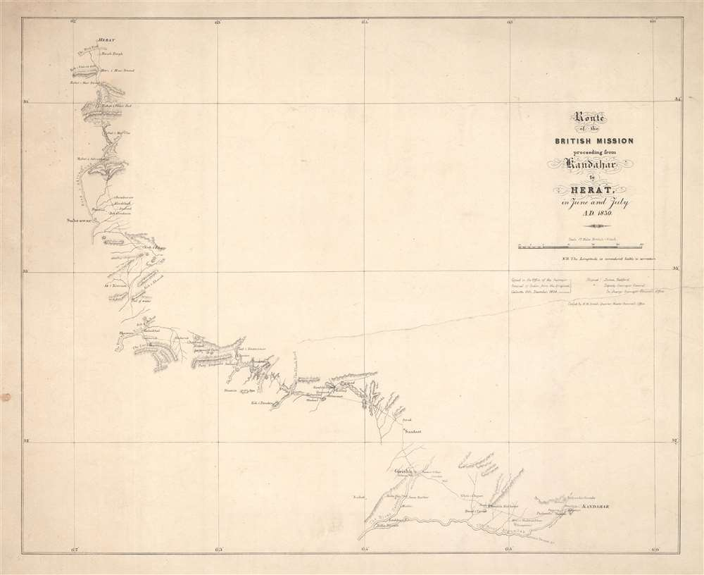 1839 Bedford and Smith Map of Afghanistan from Kandahar to Herat
