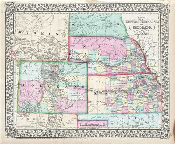 Map of Kansas, Nebraska, Colorado, Showing also the Southern ...