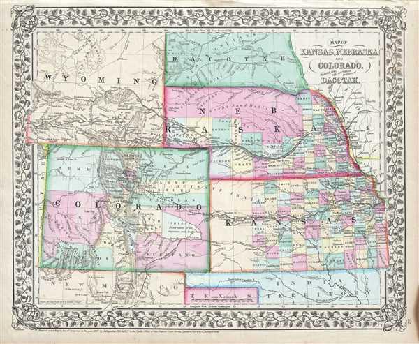 Map Of Kansas Nebraska Colorado Showing Also The
