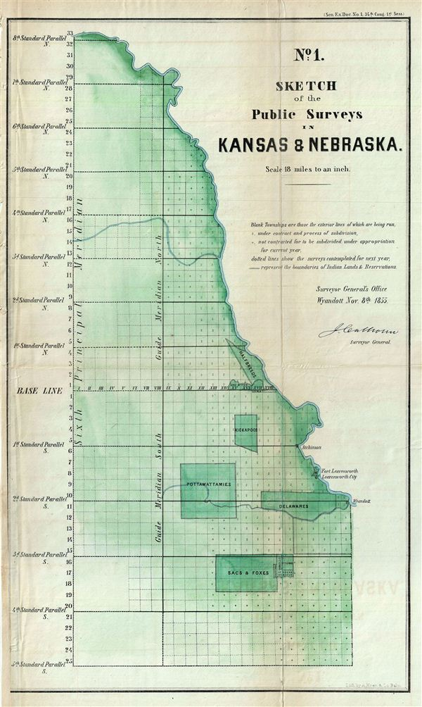 No. 1 Sketch of the Public Surveys in Kansas & Nebraska.