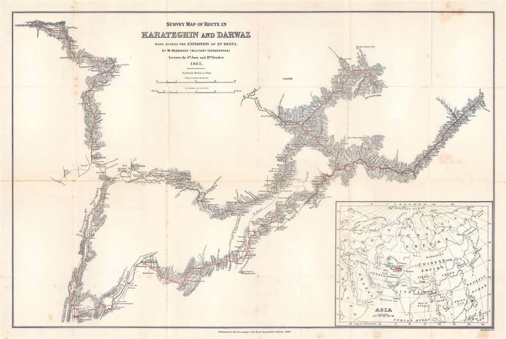 Survey Map of Route in Karateghin and Darwaz Made During the Expedition of Dr. Regel. - Main View
