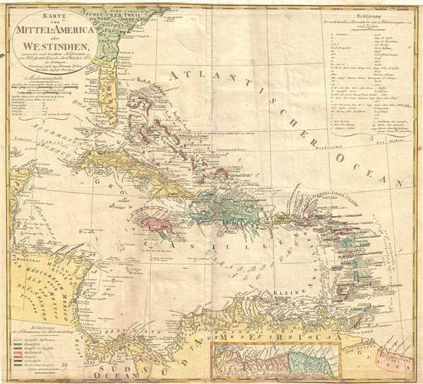 Karte von Mittel-America oder Westindien.