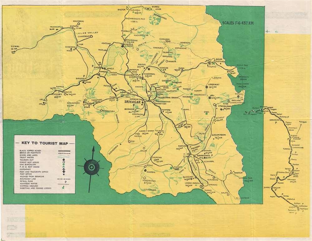 Tourist Map of Kashmir Valley.