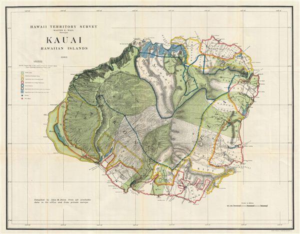 Kauai, Hawaiian Islands.: Geographicus Rare Antique Maps on kin map, kawasaki map, martin map, waldorf map, sacred ridge site map, iwate prefecture map, iwaizumi map, baldwin map, marshall map,