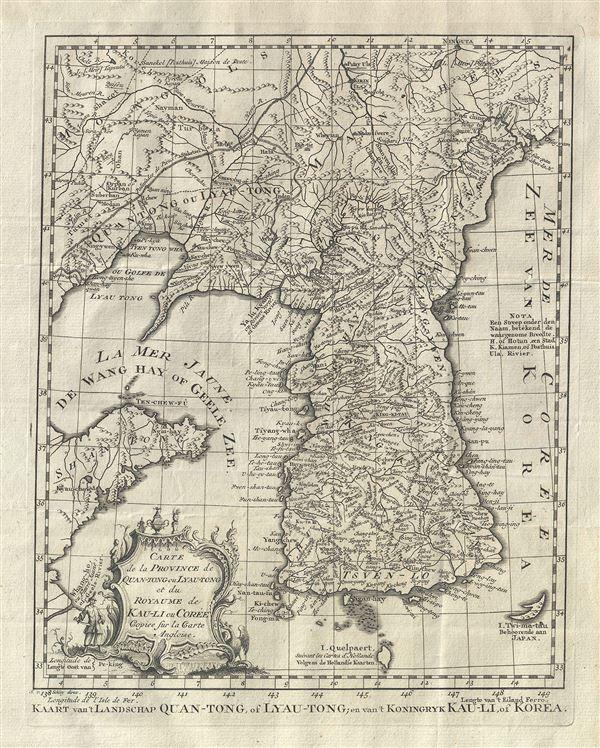 Carte de la Province de Quan-tong, ou Lyau-tong et du Royaume de Kau-li ou Coree .