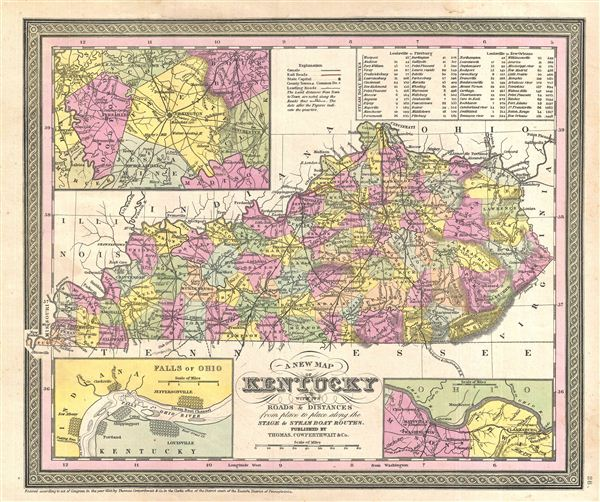 A New Map of Kentucky with its Canals, Roads & Distances from place to place, along the Stage & Steam Boat Routes.