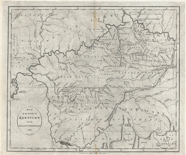 Map of the State of Kentucky; with the Adjoining Territories. 1795.