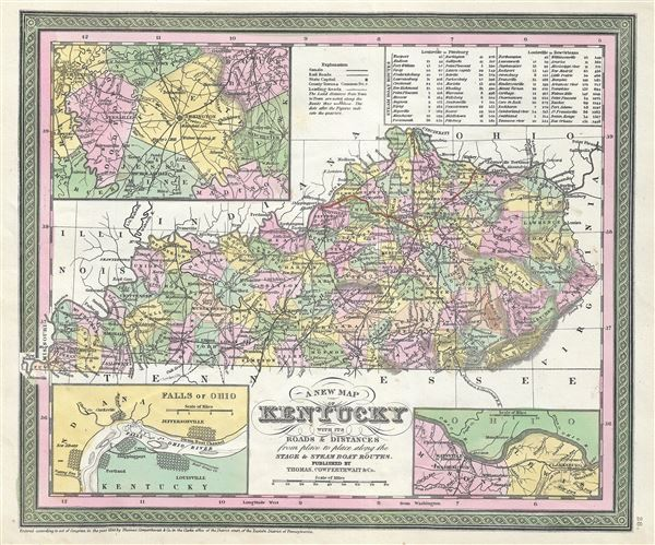 A New Map of Kentucky with the Roads and Distances from place to place along the Stage and Steam Boat Routes.