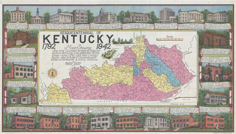 Sesquicentennial of Kentucky 1792 1942 Map Showing the nine Counties formed by Virginia before Kentucky was admitted to the Union June 1, 1792 with their County Seats and present Counties with dates of formation and early stations.