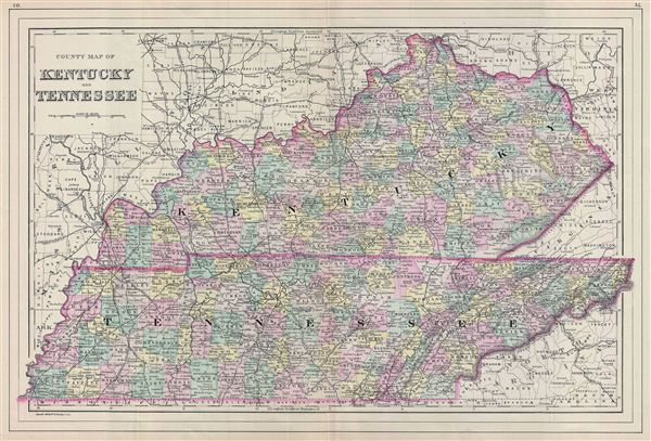 County Map Of Kentucky And Tennessee Geographicus Rare
