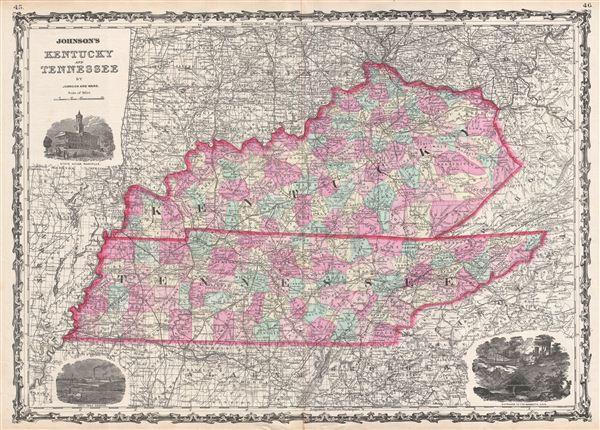 Johnson S Kentucky And Tennessee Geographicus Rare Antique Maps