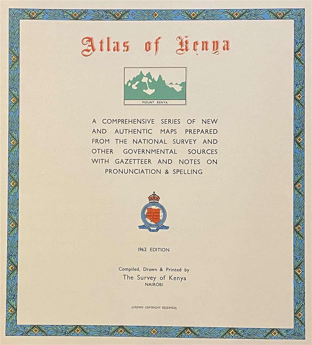 1962 Colonial Survey Atlas of Kenya