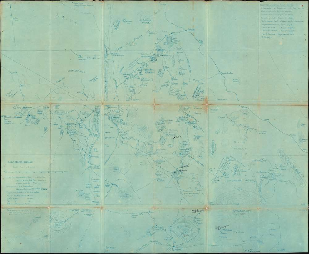 1914 Meinertzhagan WWI Map of Kenya and Tanzania: East Africa Campaign