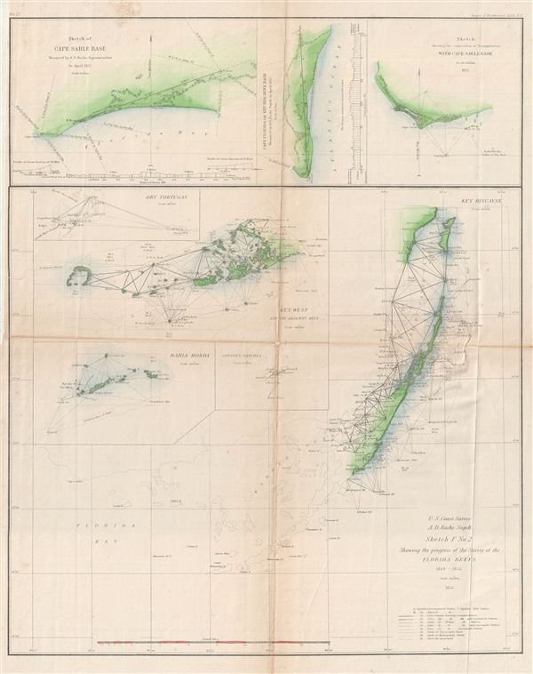 Sketch F No. 2 Showing the Progress of the Survey of the Florida Reefs 1849 - 1855.