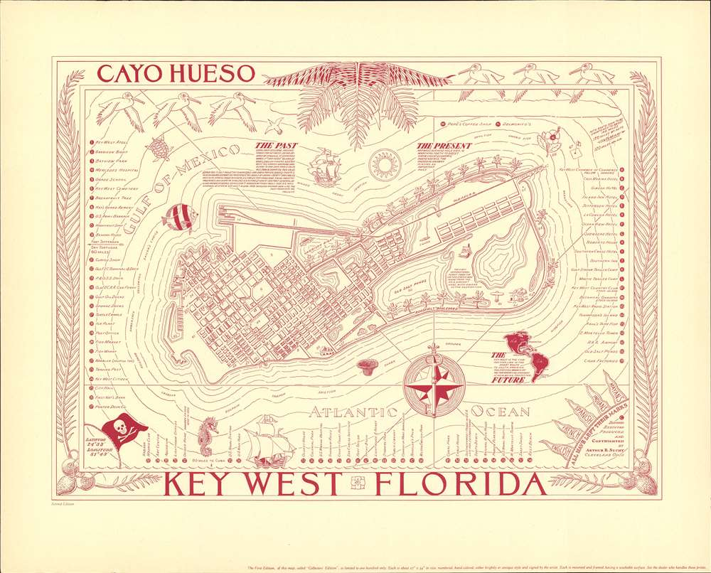 1940 Suchy Pictorial Map of Key West, Florida