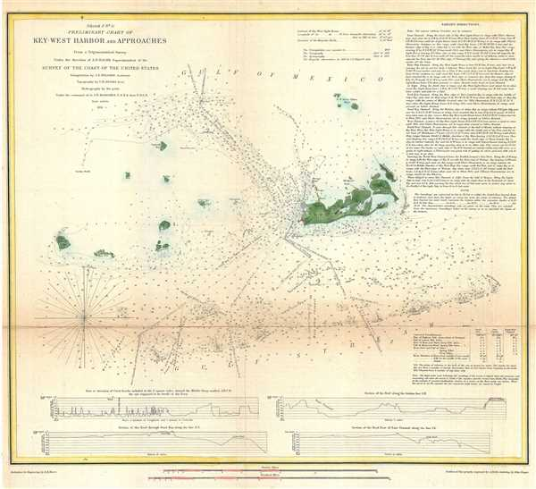 (Sketch F No. 5) Preliminary Chart of Key West Harbor and Approaches.