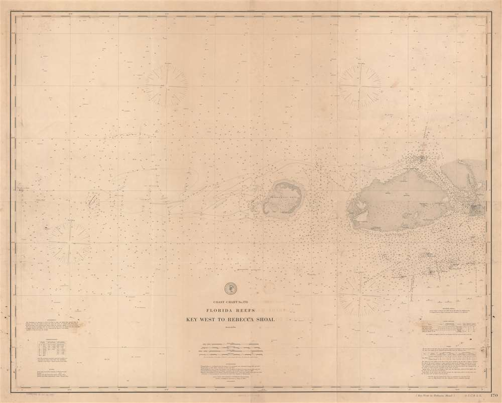 Coast Chart No. 170 Florida Reefs Key West to Rebecca Shoal. - Main View