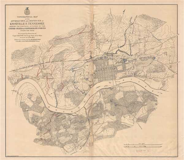 Topographical Map of the Approaches and Defences of Knoxville E. Tennessee Shewing the Positions Occupied by the United Stated and Confederate Forces During the Siege.