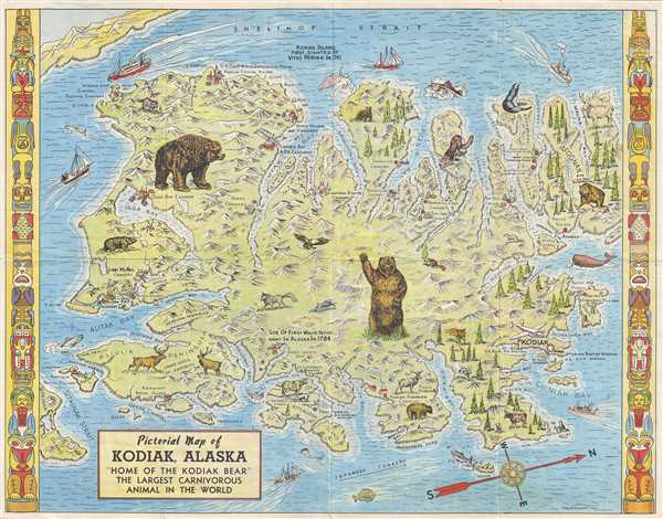 Pictorial Map of Kodiak, Alaska 'Home of the Kodiak Bear' the Largest Carnivorous Animal in the World.