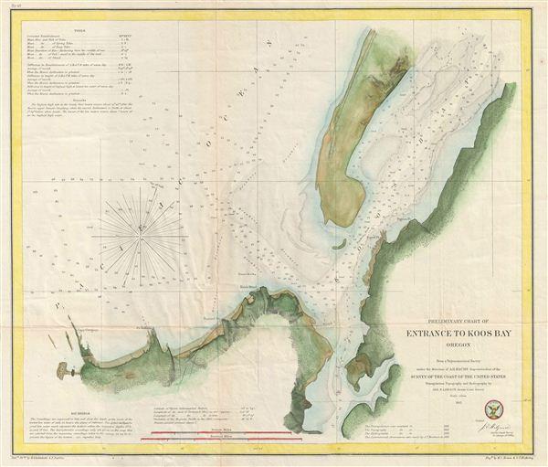 Preliminary Chart of Entrance to Koos Bay Oregon. - Main View
