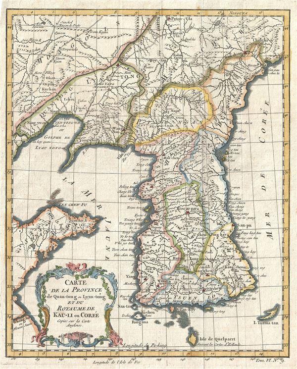 Carte de la Province de Quan-tong ou Lyau-tong et du Royaume de Kau-Li ou Coree.