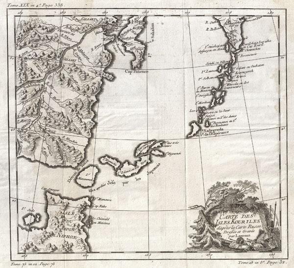 Carte des Isles Kouriles d'apres la Carte Russe Dressee et Gravee par Laurent.