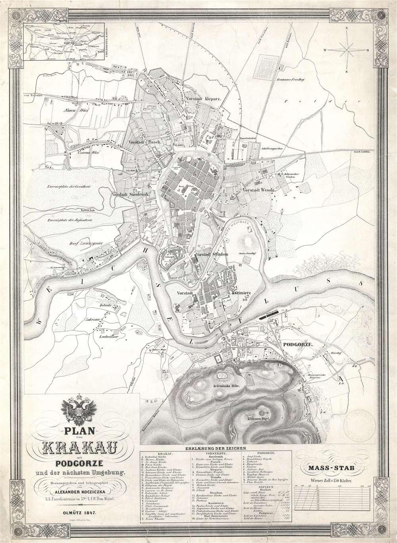 Plan von Krakau mit Podgorze und der nächsten Umgebung.