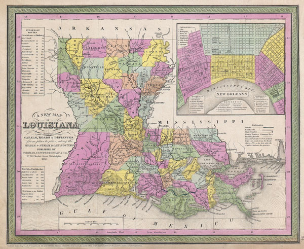 A New Map of Louisiana with its Canals, Roads & Distances from placeto place, along the Stage & Steam Boat Routes.. - Main View