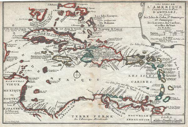 Les Isles de L'Amerique Connues sous le Nom D'Antilles, ou Sont les Isles de Cuba, St. Domingue et Jamaique les Lucayes, les Caribes, et celles du Vent.