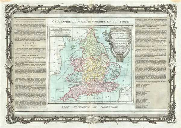 L'Angleterre divisee en 5 grandes Parties, Subdivisee en 52 Comtes.