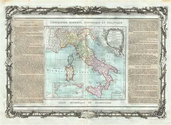 L'Italie Divisee En Tous Ses Etats et assujettie aux observations Astronomiques, Combinees avec les Itineraires tant anciens que moderne.