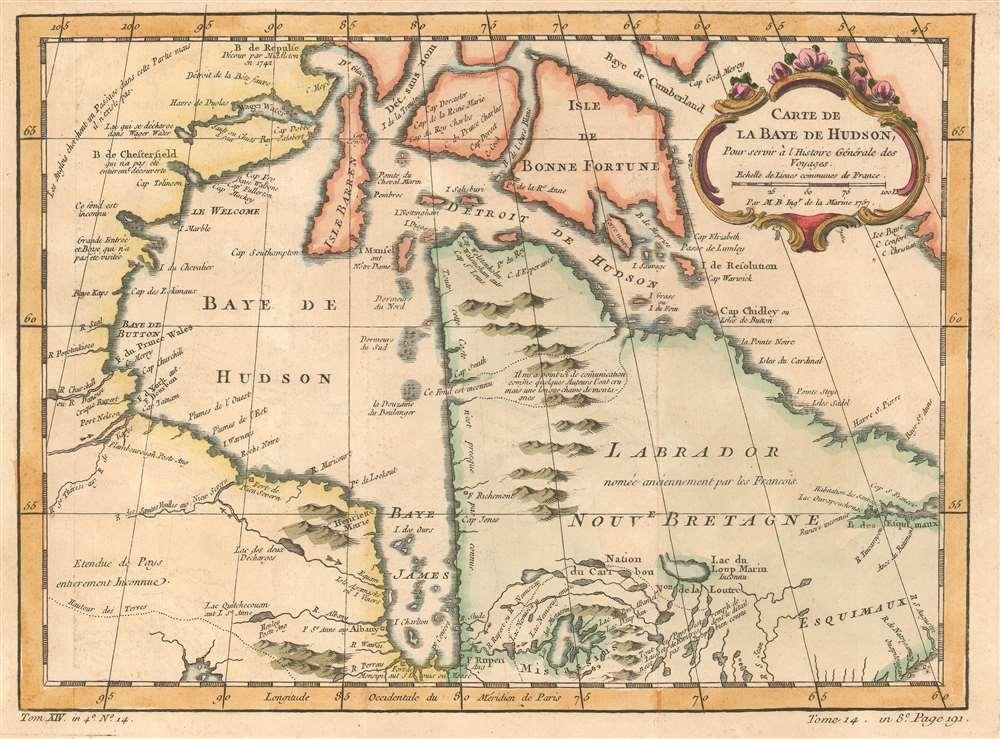 Carte de La Baye de Hudson: Geographicus Rare Antique Maps
