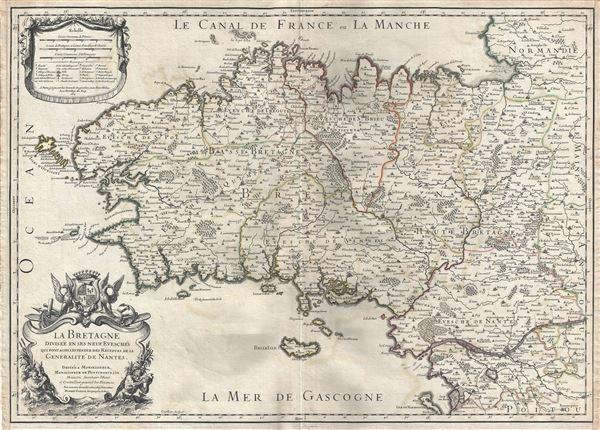 La Bretagne Divisee en ses neuf Evesches qui font aussi l'estendue des Receptes de la Generalite de Nantes.