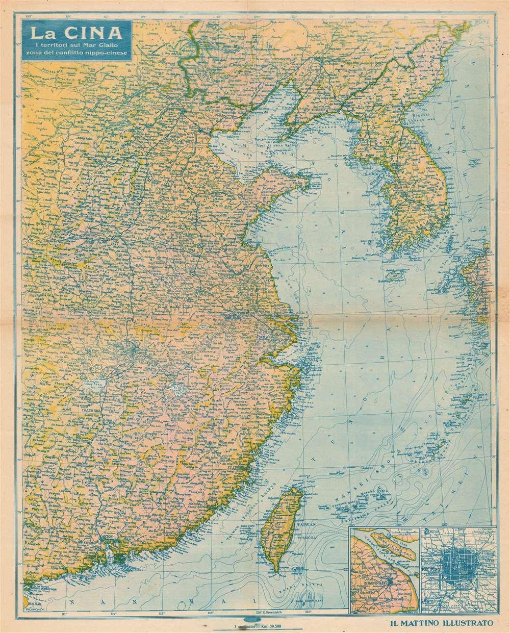 1937 'Il Mattino Illustrato' Propaganda Map of China / 2nd Sino-Japanese War
