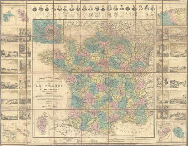 Nouvelle Carte Complete Illustree Administrative Historique et Routiere de la France et des Colonies.